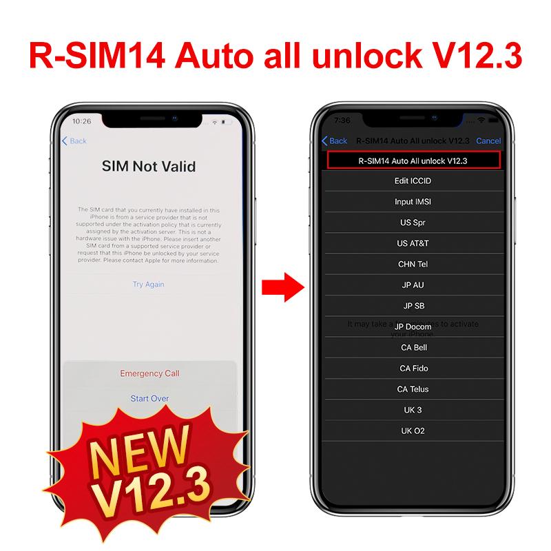 R-SIM14 Auto all unlock V 12 3 pop-up menu Updated Version R-SIM14,R